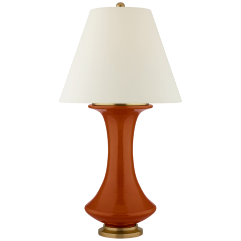 Nota Medium Table Lamp in Cinnabar with Natural Percale Shade