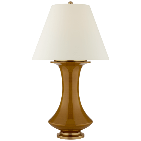 Nota Large Table Lamp in Dark Honey with Natural Percale Shade
