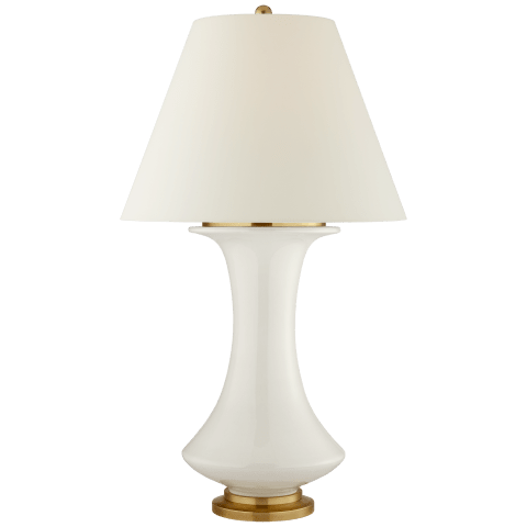 Nota Large Table Lamp in Ivory with Natural Percale Shade