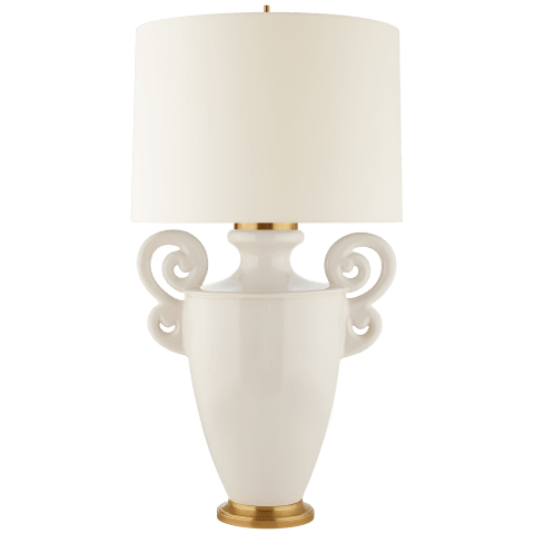 Ralphaeli Large Handled Table Lamp in Ivory with Linen Shade