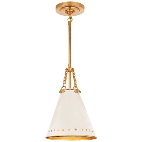 Hadley Small Pendant in Natural Brass with Antique White Tole and Gild Interior Shade