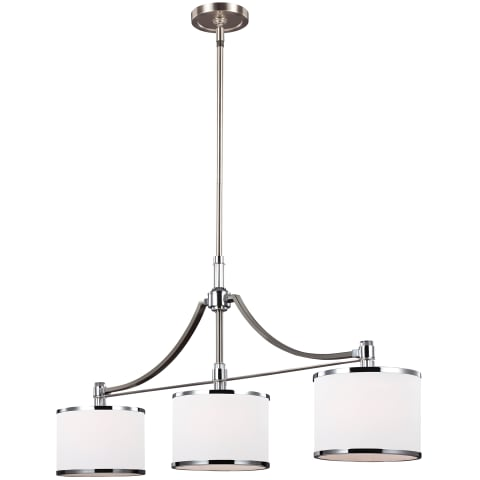 Prospect Park 3 - Light Island Chandelier Satin Nickel / Chrome