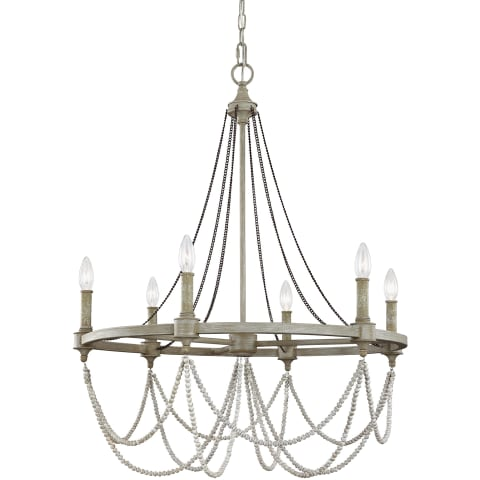 Beverly 6 - Light Chandelier French Washed Oak / Distressed White Wood