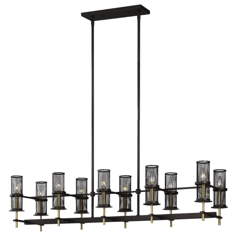 Palmyra 10 - Light Linear Chandelier Oiled Rubbed Bronze / Burnished Brass