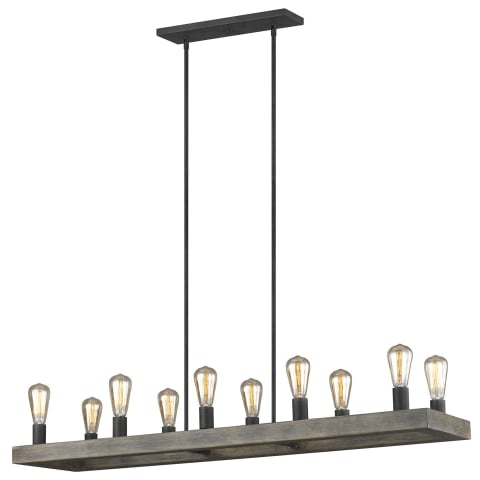 Avenir 10-Light Linear Chandelier Weathered Oak Wood / Antique Forged Iron