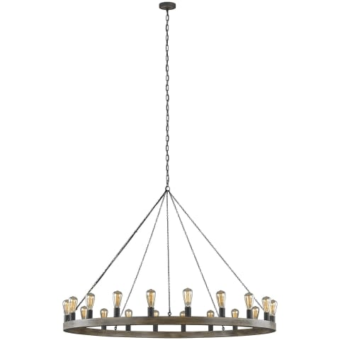 Avenir 20-Light Chandelier Weathered Oak Wood / Antique Forged Iron