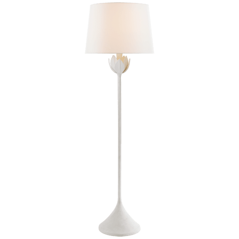 Alberto Large Floor Lamp in Plaster White with Linen Shade