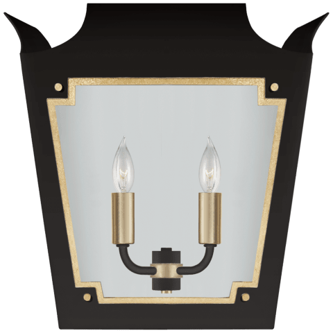 Caddo Lantern Sconce in Matte Black and Gild with Clear Glass