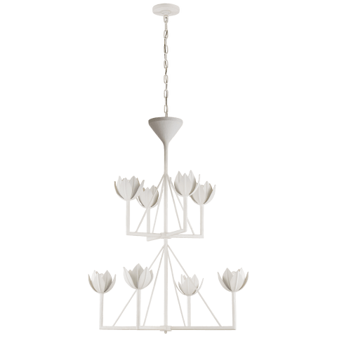 Alberto Medium Two Tier Chandelier in Plaster White