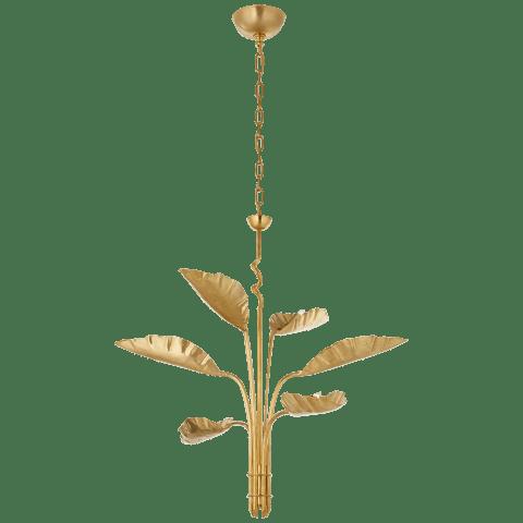 Dumaine Medium Pierced Leaf Chandelier in Antique-Burnished Brass