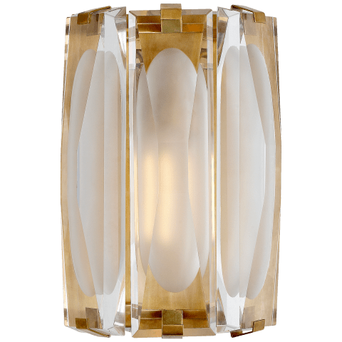 Castle Peak Large Bath Sconce in Polished Nickel with Etched Clear Glass