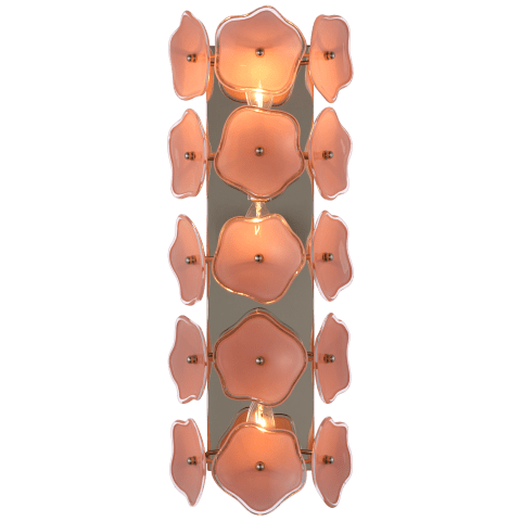 """Leighton 20"""" Sconce in Polished Nickel with Blush Tinted Glass"""