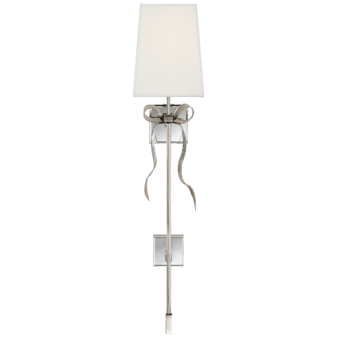Ellery Gros-Grain Bow Tail Sconce in Polished Nickel and Mirror with Cream Linen Shade
