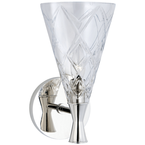 Darcy Single Sconce in Polished Nickel with Crystal