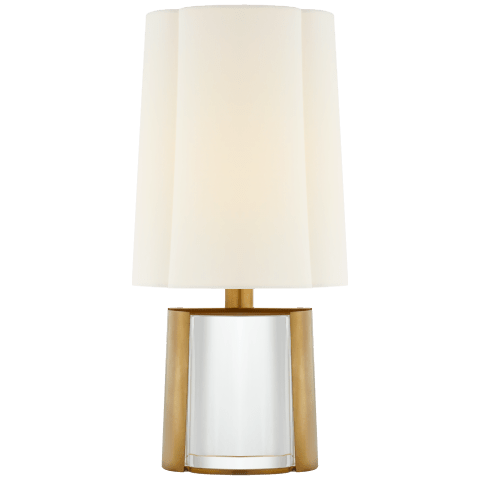Thoreau Desk Lamp in Crystal and Soft Brass with Linen Shade
