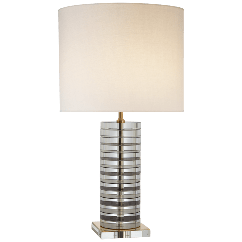 Grayson Stacked Table Lamp in Crystal with Black and Cream Accents with Cream Linen Shade