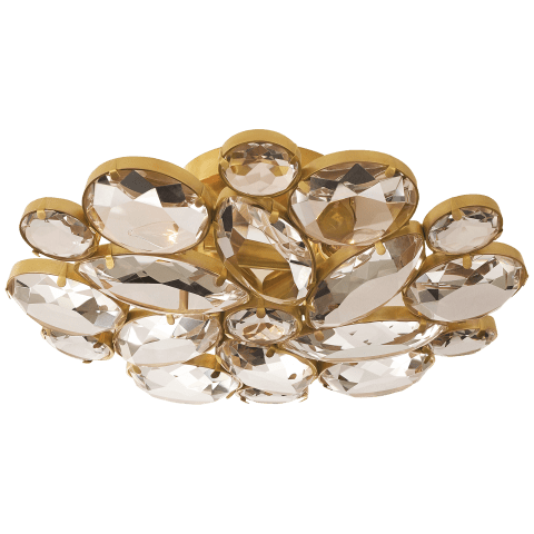 Lloyd Medium Round Flush Mount in Soft Brass with Clear Glass