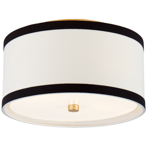 Walker Small Flush Mount in Gild with Cream Linen with Black Linen Trim
