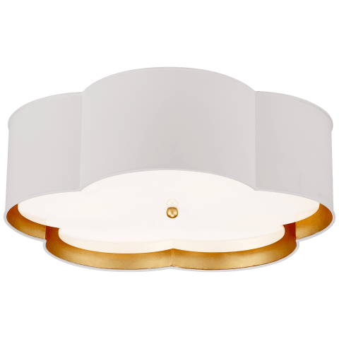 Bryce Large Flower Flush Mount in White and Gild with Frosted Acrylic