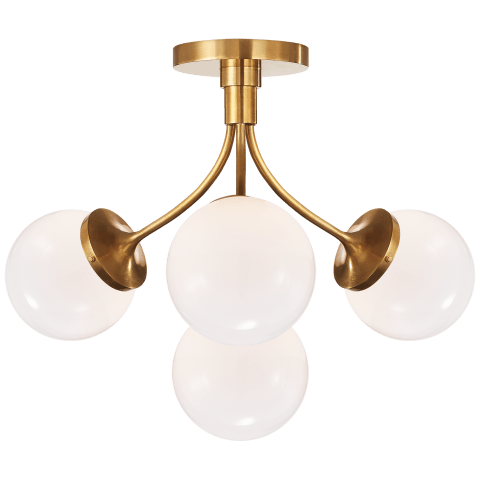 Prescott Medium Semi-Flush Mount in Soft Brass with Clear Glass
