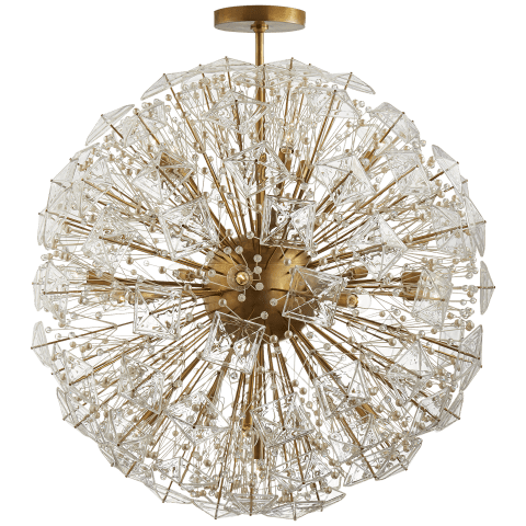 Dickinson Grande Chandelier in Soft Brass with Clear Glass and Cream Pearls