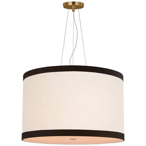 Walker Medium Hanging Shade in Gild with Linen Shade with Black Linen Trim