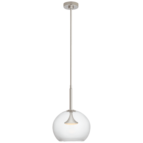 "Rochester 12"" Globe Pendant in Polished Nickel with Clear Glass"