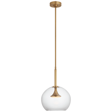 """Rochester 12"""" Globe Pendant in Soft Brass with Clear Glass"""