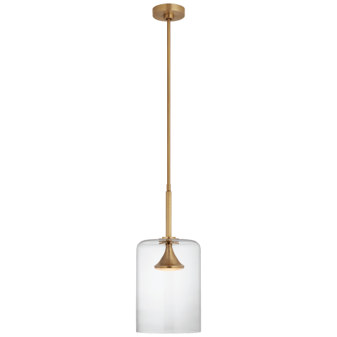 """Rochester 9.5"""" Cylinder Pendant in Soft Brass with Clear Glass"""