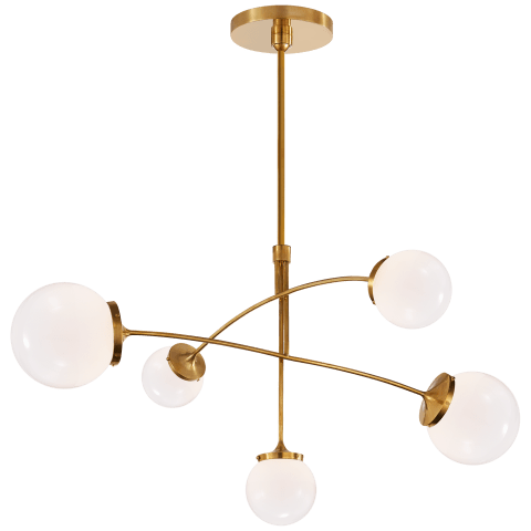 Prescott Medium Mobile Chandelier in Soft Brass with Clear Glass