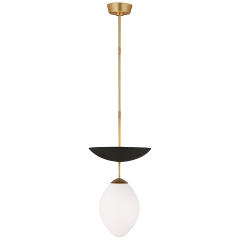 Boswell Small Pendant in Gild and Matte Black with White Glass