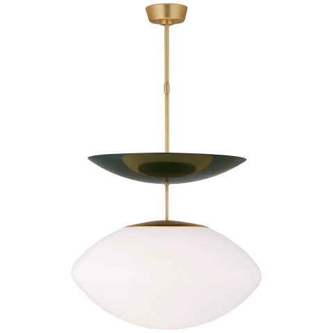 Boswell Large Pendant in Gild and Evergreen with White Glass