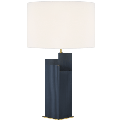 Portman 2 - Light Table Lamp Royal Blue with Burnished Brass Bulbs Inc