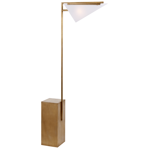 Forma Floor Lamp in Antique-Burnished Brass with White Glass