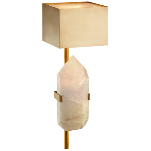 Halcyon Sconce in Antique-Burnished Brass and Quartz with Antique-Burnished Brass Shade
