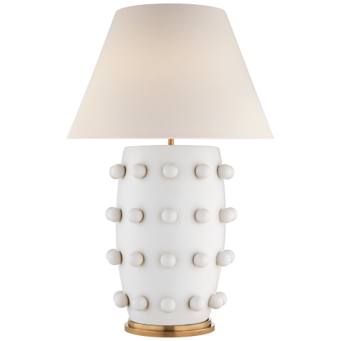Linden Table Lamp in Plaster White with Linen Shade