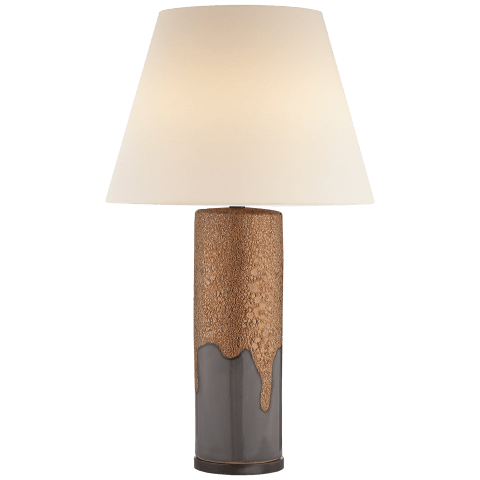 Marmont Table Lamp in Burnt Gold and White Porous with Linen Shade