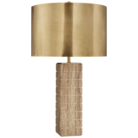 Pietra Large Hand Carved Table Lamp in Limestone with Antique-Burnished Brass Shade