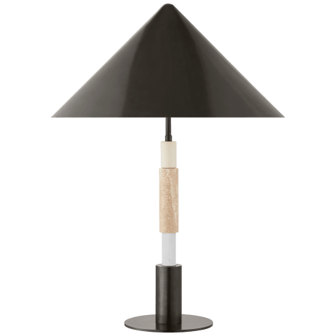 Mira Medium Stacked Table Lamp in Bronze and Travertine with Bronze Shade