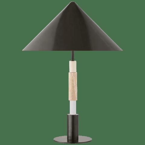 Mira Medium Stacked Table Lamp in Bronze and Travertine with Bronze Shade