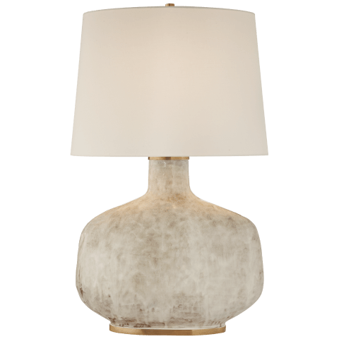 Beton Large Table Lamp in Antiqued White Ceramic with Linen Shade