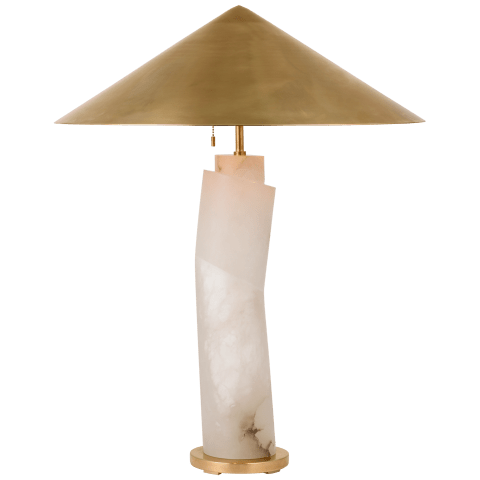 Lemaire Large Table Lamp in Alabaster with Antique-Burnished Brass Shade