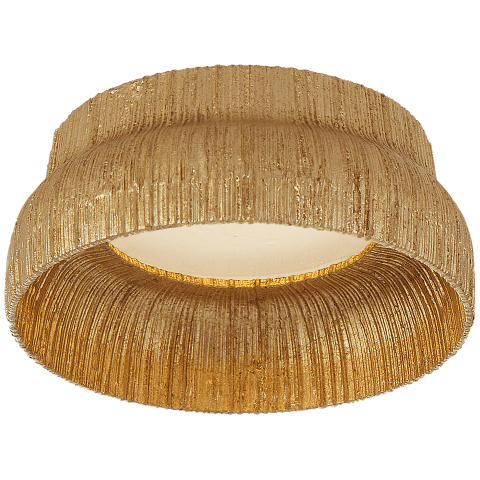 """Utopia 5"""" Solitaire Flush Mount in Gild with Fractured Glass Trim"""