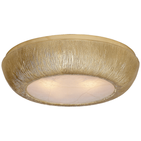 Utopia Medium Round Flush Mount in Gild with Fractured Glass