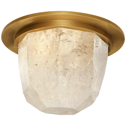"Halcyon 5"" Solitaire Flush Mount in Antique-Burnished Brass and Quartz"