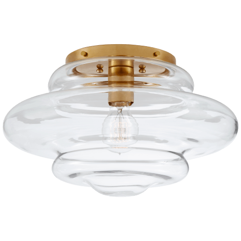 Tableau Medium Flush Mount in Antique-Burnished Brass with Clear Glass