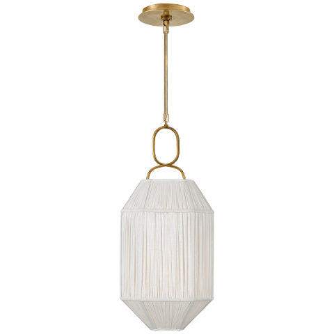 Forza Small Lantern in Antique-Burnished Brass with Gathered Linen Shade