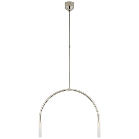 Rousseau Medium Linear Chandelier in Polished Nickel with Seeded Glass