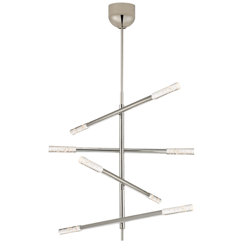 Rousseau Medium Articulating Chandelier in Polished Nickel with Seeded Glass