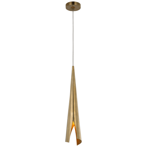 Pelle Small Wrapped Pendant in Antique-Burnished Brass